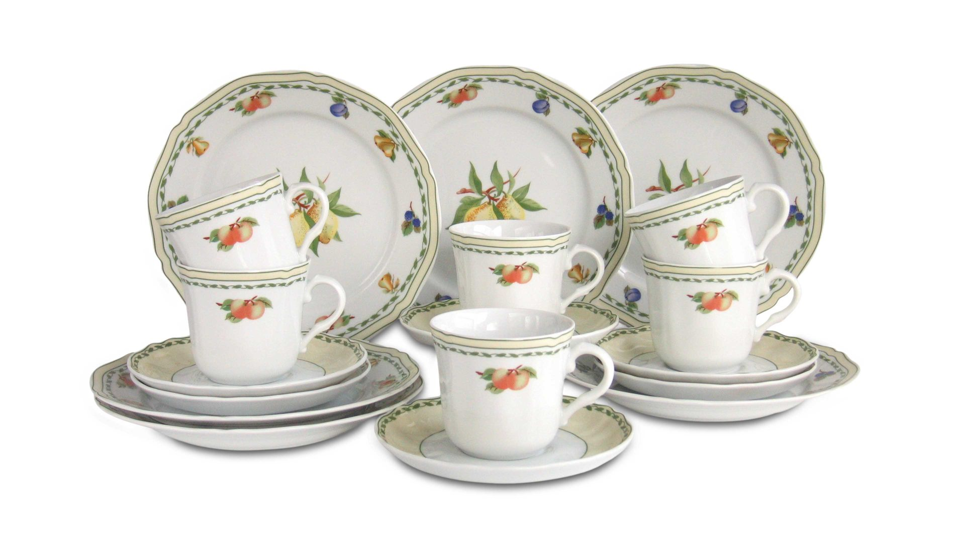 Silvia Kaffeeservice Geschirr Set 18tlg für 6 Personen Porzellan CreaTable 17973