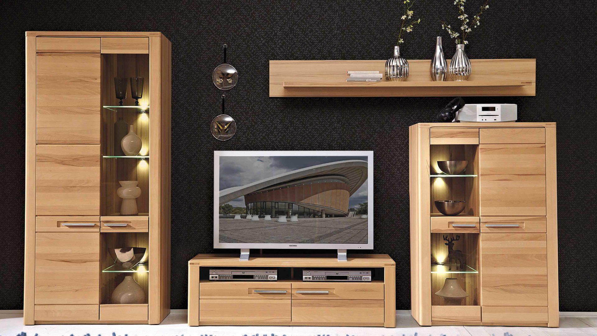 Wohnland Breitwieser , Wohnwand mit LED-Beleuchtung als ...